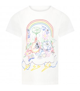 White t-shirt for kids with prints