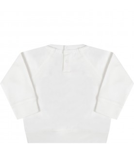 White sweatshirt for babykids with colorful prints