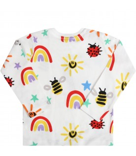 White t-shirt for babykids with  colorful prints