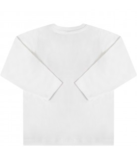 White t-shirt for babyboy with colorful prints