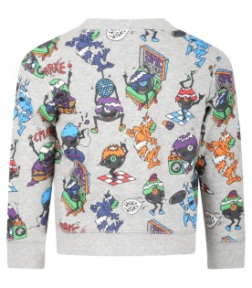Grey sweatshirt for boy with monsters