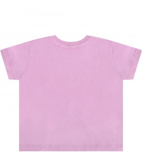 Lilac t-shirt for babygirl with logo