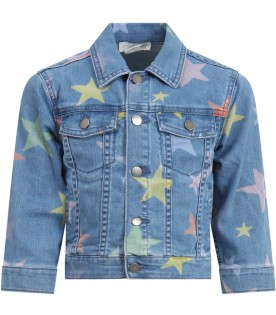 Light blue jacket for girl with stars
