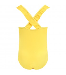 Yellow swimsuit for girl with teddy bear