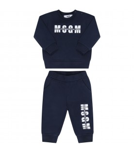 Blue tracksuit for babykids with logo