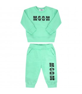 Mint green tracksuit for babykids with logo