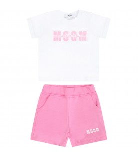 Multicolor suit for babygirl with logo