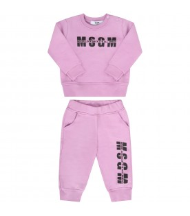 Lilac tracksuit for babygirl with logo