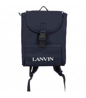 Blue backpack for boy with logo