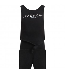 Black jumpsuit for girl with logo