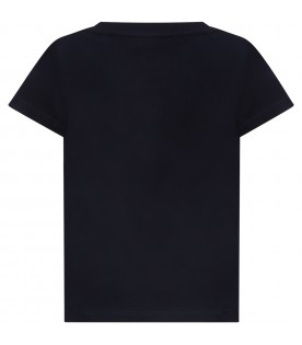 Blue T-shirt for girl with logo