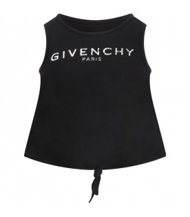 Black tank-top for girl with logo