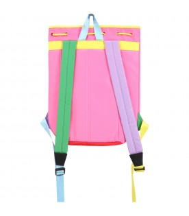 Multicolor backpack for girl with logo