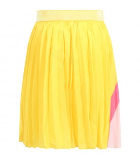 Yellow skirt for girl with rainbow