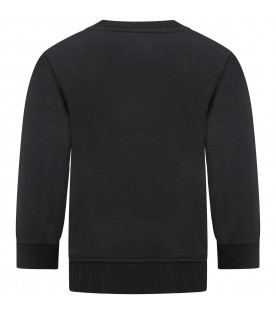 Black sweatshirt for boy with logo