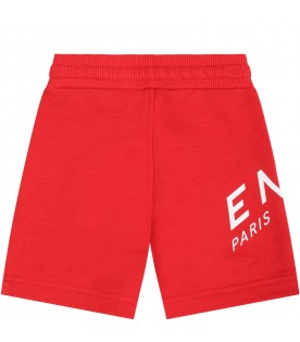 Red short for babyboy with logo