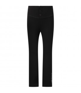 Black sweatpant for girl with logos