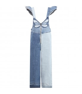 Light blue overalls for girl with butterfly
