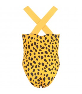 Multicolor swimsuit for girl with cheetah