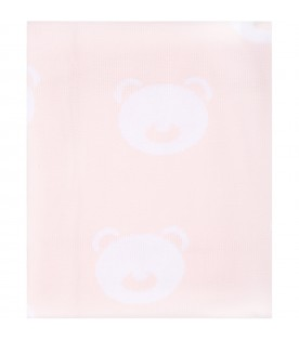 Pink blanket for baby girl with bears