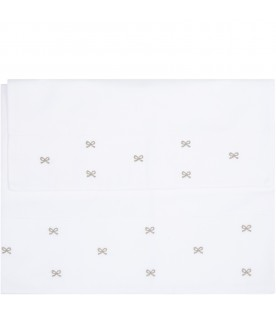 Set lenzuo D.CORTA:White set for babykids with beige bows