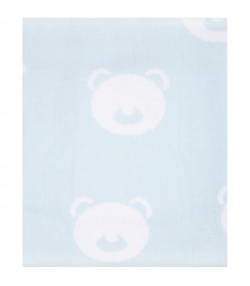 Light blue blanket for baby boy with bears
