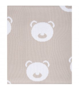 Beige blanket for baby kids with bears