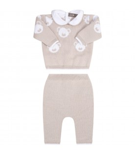 Beige suit for baby kids with bears