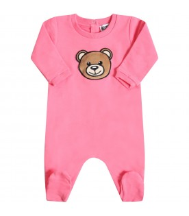 Fuchsia babygrow for babygirl with teddy bear