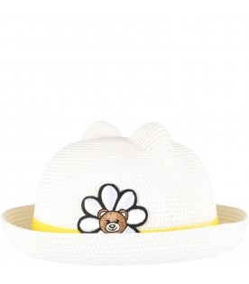 Ivory hat for girl with flower