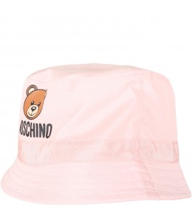 Pink sun hat for babygirl with teddy bear