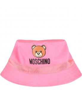 Fuchsia sun hat for babygirl with teddy bear