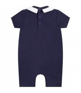 Blue romper for babykids witth teddy bear