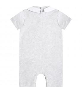Grey romper for babykids witth teddy bear