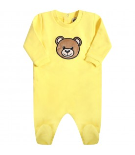 Yellow babygrow for babykids with teddy bear