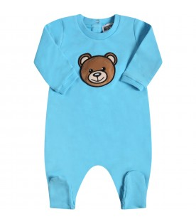Light blue babygrow for babyboy with teddy bear