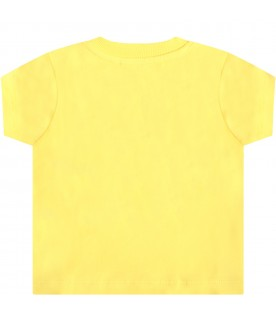 Yellow t-shirt for babykids with teddy bear