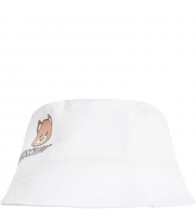 White sun hat for babykids with teddy bear