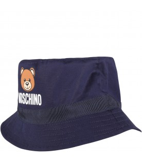 Blue sun hat for babykids with teddy bear