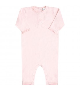 Pink babygrow for babygirl with cherry