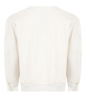 White sweatshirt for kids with logos