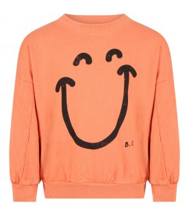 Orange sweatshirt for girl with smile face