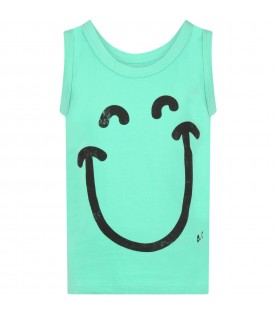 Green tank top for kids with smiley face
