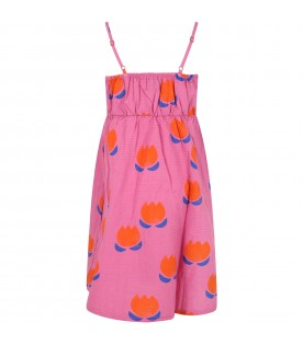 Fuchsia dress for girl with flowers