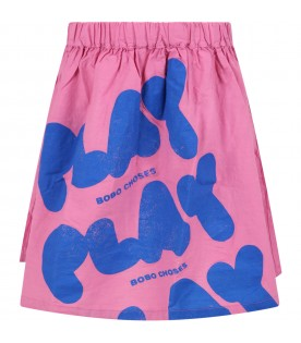Fuchsia skirt for girl with logos