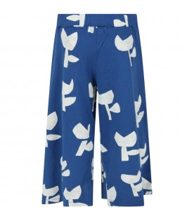 Blue trouser for girl with poppies