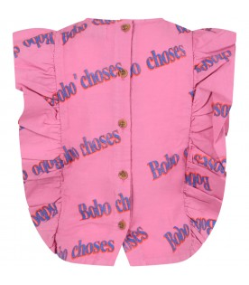 Fuchsia blouse  for girl with logos