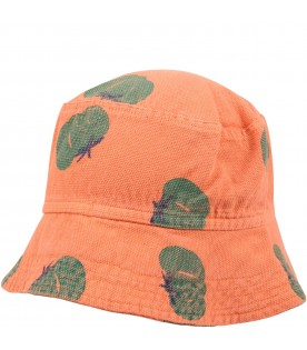 Orange sun hat for kids with tomatos