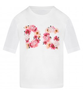 White T-shirt for girl with flowers