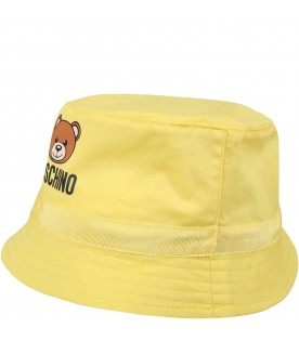 Yellow sun hat for babykids with teddy bear